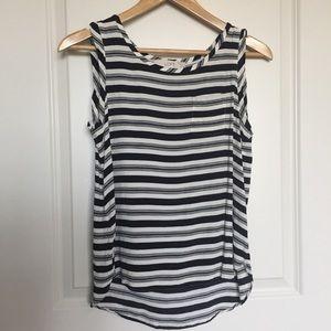LOFT Sleeveless Striped Black & White Blouse